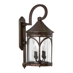 "Hinkley - Traditional Lucerne Collection 29 1/2"" High Outdoor Wall Light - Inspired by street lighting in the world-famous city of Lucerne this outdoor light fixture boasts clean lines and an elegant profile. It comes in a copper bronze finish with clear glass. A bottom finial ball feet and drapery border adds to the classic decorative look. With a top scroll arm. Takes four 40 watt candelabra bulbs (not included). 29 1/2"" high. 13"" wide. Extends 17"" from the wall.  Copper bronze finish.  Takes four 40 watt candelabra bulbs (not included).  29 1/2"" high.   13"" wide.  Extends 17"" from the wall."