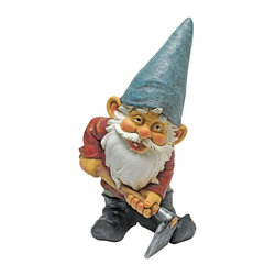 EttansPalace - Garden Gnome Statue - From The Acorn Hollow Garden Statuary Collection; When you could use a little gnome magic at your entryway, garden vegetable plot or flowerbed, Bulldoze the Garden Gnome Statue is at the ready! Sporting a pointy elf hat and trusty gnome hoe, this garden elf statue greets the day with the same warm welcome hell extend to all visitors to your home or garden. Imaginatively sculpted, our quality designer resin garden gnome statue is hand-painted one piece at a time.