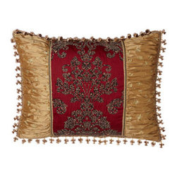 """Sweet Dreams - Sweet Dreams Standard Pieced Sham - Originality and opulence come together in """"Mi Amore"""" bedding by Sweet Dreams®. The look features an integrated animal and damask pattern on a rich scarlet ground, metallic embroidery, a host of fancy trims, and much more. Bedspreads have a scarlet..."""