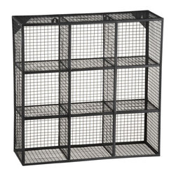 """Wire 9 Cube Wall Shelf - How could you not instantly fall in love with this wall shelf? This would be brilliant to use in the kitchen for spices, perhaps, or other small items that you use often.Cube Wall Shelf. 24""""Wx8""""Dx24""""H"""