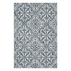 """Loloi Rugs - Loloi Rugs Francesca Collection, Ivory and Blue, 3'-6"""" x 5'-6"""" - If your lifestyle is fresh, spirited and informal, the intricately hand-hooked Francesca Collection is for you. These richly textured designs range from boldly scaled florals and architectural gate patterns to geometric chevron stripes and pretty paisleys. Crafted to reflect your personal style, each Francesca rug is made in China of 100-percent polyester with fibers that are stain- and moisture-resistant. That means colors will remain vibrant today and tomorrow, whether you place your rug in asunroom, kitchen, family room or foyer."""