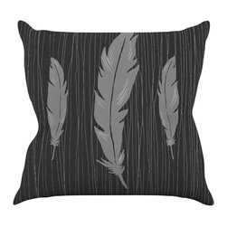 """Kess InHouse - Jaidyn Erickson """"Feathers Black"""" Throw Pillow (18"""" x 18"""") - Rest among the art you love. Transform your hang out room into a hip gallery, that's also comfortable. With this pillow you can create an environment that reflects your unique style. It's amazing what a throw pillow can do to complete a room. (Kess InHouse is not responsible for pillow fighting that may occur as the result of creative stimulation)."""
