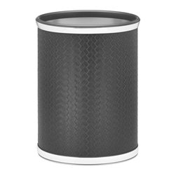 Kraftware - San Remo Chrome Wastebasket in Eclipse - 0.75 in. chrome band and bumper. Made in USA. 10 in. Dia. x 12 in. H (1.5 lbs.)The Grant Signature Home collection's San Remo group features upscale leatherette vinyl's that have an old world charm. Beautifully textured and appointed, San Remo is a proven winner.