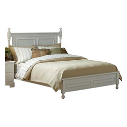 Homelegance - Homelegance Morelle Low Post Bed in White - Full - The warmth of cottage living is invoked by the classic styling of the Morelle collection . The collection is designed with many features perfect for today's casual lifestyle such as a low post bed with simple picture framing and round finials plus molded drawer fronts and satin nickel knobs on the case pieces. The ability to choose from twin, full, queen, California king and Eastern king bed sizes makes this group perfect for youth bedrooms, guest bedrooms or master bedrooms. Adding to the versatility are two distinct painted finishes, black and white.