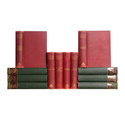 Booth and Williams - Consigned Antique Red & Green Distressed Charles Dickens Books, Set of 12 - Red & Green Distressed Charles Dickens Books, S/12. Twelve antique hardcovers feature selected works of Charles Dickens. Published by Lovell, Cornell and Co., and Houghton Mifflin Co., 1894. Lightly distressed bindings accented with gilt lettering and inlay to covers, gilt and deckled page ends to select volumes and scattered black-and-white illustrations, are perfect for reading and decor. Moderate overall wear to covers and pages.