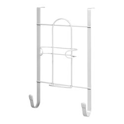 """Spectrum Diversified Designs - Overdoor Iron & Ironing Board Holder - White - All in one. Organize your laundry room with the Over the Door Iron & Ironing Board Holder. This handy rack lets you store your iron and torstyle ironing board in one convenient place. The sturdy steel bracket fits doors up to 1-5/8"""", while a predrilled hole on the bracket allows you to permanently attach the hook to your door."""
