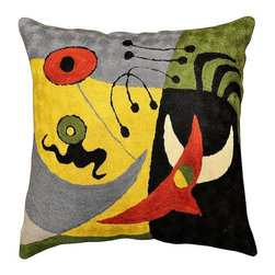 "Modern Wool - Miro Pajaros Accent Wool Cushion Cover Hand Embroidered 18"" x 18"" - Miro Pajaros Accent Wool Cushion Cover hand embroidered - While this pillow cover design is reminiscent of Joan Miro's 'Vuelo de Pajaros' (Bird Flight), the Kashmiri designer has created other whimsical Miro-esque figures as well. Sun and moon, birds and sea creatures, perhaps, running along the beach is depicted in this decorative modern pillow cover. The fine chain stitch work of world-class Kashmiri handcrafters and artisans is comprised of swirls of soft Kashmir wool thread as unique as your fingerprint.  The whole cotton base of this accent pillow is covered with the soft wool embroidery creating a tightly stitched form that will endure. Each Kashmiri pillow cover sports a button closure at the back."