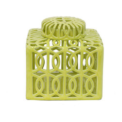 Light Green Decorative Ceramic Jar - This light green ceramic jar is adorned with a circular trellis design. Whether you stuff it with knickknacks or showcase it solo, it is the perfect decorative accent for any tabletop.