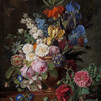 Flowers in Urn on a Stone Ledge | Jan Frans van Dael | Canvas Print - Condition: Canvas Print - Unframed
