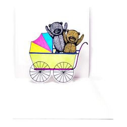 3D Baby Stroller Pop-Up Card - Give expecting parents the gift of original pop-up art with this baby-stroller themed memento.