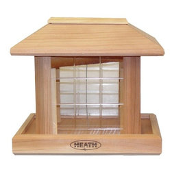 HEATH MFG - Gazebo Bird Feeder - Easy fill, sliding roof. Holds mixed or sunflower seed. Seed scoop included. Clear break-resistant poly-carbonate plastic windows. Cap Lbs: 7