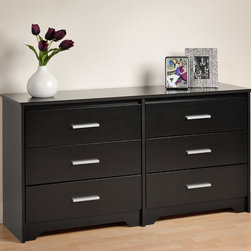 "Prepac - Black Coal Harbor 6 Drawer Dresser - Trendy style elements and must-have storage space combine in the Coal Harbor 6 Drawer Dresser. Keep your growing clothing collection in its six generous drawers, and decorate the top with your trendiest bedroom accessories. This modern piece will complement any contemporary decor, and enhance any urban space. Combine it with other items in the Coal Harbor Bedroom Collection for a complete look!; Bevelled edges, angled cut-outs and 6"" rectangular matte metal drawer handles; Inset drawers run smoothly on metal glides with built-in safety stops; Clear lacquered real wood drawer sides; Finished in durable deep black laminate; Constructed from CARB-compliant, laminated composite woods with a sturdy MDF backer; Includes a tipping restraint; Ships Ready to Assemble, includes an instruction booklet for easy assembly and has a 5-year manufacturer's limited warranty on parts; Proudly manufactured in North America; Dimensions: 60""W x 29.5""H x 15.75""D;"