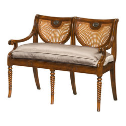 "Theodore Alexander - Regency Refinement Settee - A hand carved double chair back settee with caned back and seat, arms and silk cushion seat, on spiral turned legs.  Based on the original Regency design.  Seat Height: 22 1/4""  Arm Height: 26 1/4""  Theodore Alexander upholstery uses the finest quality materials and is hand applied by expert craftspeople to ensure the highest standards in comfort, longevity and style.  Our craftsmen select wood based on beauty, colour and suitability to each individual piece.  We still use traditional furniture making, wood working techniques and materials to ensure enduring quality in every one of our products."