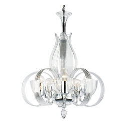 "Inviting Home - Blown Crystal Glass Chandelier - 20th century style hand-blown crystal glass chandelier; 23"" x 30""H (5 lights); assembly required; The first design sketch of this beautiful chandelier come from 20th century. Today this chandelier produced in an almost unchanged form; 5 light chandelier made of hand-blown crystal glass all metal parts are chromium plated; Preciosa genuine Czech crystal; * ready to ship in 2 to 3 weeks; * assembly required; The design of all crystal glass chandeliers are based on the combination of classical shapes and modern decorations. Plane shapes in clear crystal or other colors mingle with decorative elements such us straight cuts optic or spun crystal glass. As fixed stars among lighting fixtures these types of chandeliers become timeless sources of illumination suitable for various interiors. These chandeliers are manufactured using oxygen fuel technology. Only few manufacturers in Europe that use oxygen fuel technology. This allows for better control and manage the preparation process of glass. The result is impeccably pure glass of highest quality with minimal amount of visual irregularities. Every component passes thorough strict internal Quality Control processes. Highest quality European production with certified standards. UL approved - dry location; hardwire; 5x E12/14 - 40W bulbs; bulbs not included. 3 to 4 feet chain drop provided. Hand Crafted in Czech Republic"