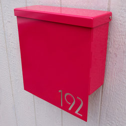 Custom House Number Mailbox No. 1310 - Custom House Number Mailbox No. 1310 Drop Front in Powder Coated Aluminum