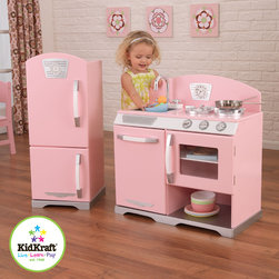 Two pcs kids Furniture Retro kids kitchen - Beautiful Kids Kitchen - Beautiful pink retro kids kitchen accessories. Adorable design that will remind you of your own childhoods. Large enough that multiple children can play at once.