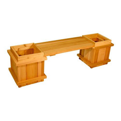 Aquila Cedar - Square Cedar Wood 3-Piece Planter Bench Set Multicolor - AQ21 - Shop for Planters and Pottery from Hayneedle.com! Create a picturesque focal point on your patio or deck with the 3-Piece Cedar Planter Bench Set. A simple backless bench connects the two large cedar planters creating a pleasant and restful seating area for you and your guests. Made of top-quality cedar this set is naturally weather- and decay-resistant and will offer years of enjoyment. If left untreated it will weather to a beautiful silver patina over time.SIZE DIMENSIONS:67L x 18W x 18.5H inchesWeight: 55 lbs.About Cedar WoodCedar wood is lightweight and resistant to both cracking and moisture rot. The oils of this resilient wood guard against insect attack and decay and their distinctive aroma acts as a mild insect repellant. Cedar is a dependable choice for outdoor furniture either as a finished or unfinished wood. Over time unfinished cedar left outdoors will weather to a silvery gray patina. This natural process does not compromise the strength or integrity of the wood.Another great aspect of cedar is its environmental effect - which is minimal. A renewable resource cedar wood emits low greenhouse gases. So rest assured knowing that your beautiful cedar furniture is a green choice too!About Aquila Cedar ProductsAquila Cedar Products is dedicated to producing the finest Western red cedar products with attention to detail quality productivity and timely delivery. Aquila cedar products include fencing siding sheds benches tables outdoor chairs building materials and more. Aquila is based in Parksville British Columbia Canada.Please note this product does not ship to Pennsylvania.