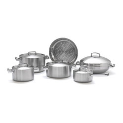 Berghoff - Berghoff Neo 5-ply Cookware Set - With this set of professional cookware, your kitchen will sizzle with style. It features five durable layers of high-quality stainless steel, aluminum and aluminum alloy that provide even heating with even better looks. Handles are finished in more stainless steel and riveted for extra durability.