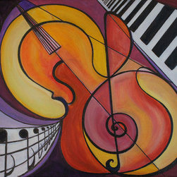 Fine Art Of Music Acrylic On Wrapped Canvas (Original) by Shoushan - Original acrylic painting.