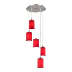 Design Classics Lighting - Modern Multi-Light Pendant with Red Glass and Five Lights - 580-09 GL1008C - Satin nickel finish multi-light pendant light with red cylinder glass shades. Includes one satin nickel five port ceiling canopy. Each mini-pendant comes with 7-feet of clear cuttable cord that allows for custom height adjustability for each pendant. Takes (5) 100-watt incandescent A19 bulb(s). Bulb(s) sold separately. UL listed. Dry location rated.