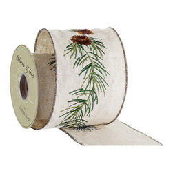 Silk Plants Direct - Silk Plants Direct Embroidered Pine Cone Ribbon (Pack of 6) - Silk Plants Direct specializes in manufacturing, design and supply of the most life-like, premium quality artificial plants, trees, flowers, arrangements, topiaries and containers for home, office and commercial use. Our Embroidered Pine Cone Ribbon includes the following: