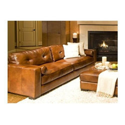 Soho Top Grain Leather Sofa in Rustic - The Soho Top Grain Leather Sofa in Rustic is that final piece you've been looking for to complete your collection. Its top grain leather upholstery (in a Rustic brown) goes well with any other leather or traditional-style pieces, while its medium-soft cushions are a welcome addition to any room. A solid hardwood frame (encased in high-density foam) and dark brown wooden block feet allow this sofa to support up to 250 lbs.About Elements Fine Home Furnishings Inc.Founded in 2010, Elements Fine Home Furnishings Inc. as quickly risen to become a trusted name in home furnishing. In addition to a focus on customer service, quality products, and competitive pricing, Elements puts a focus on creating pieces with a timeless quality, so you'll never have to worry about a collection going out of style. Combining the finest, most resilient materials with trustworthy craftsmanship, they have made a name for themselves with their high-quality, authentic leather furniture and unmistakable unique designs incorporating classic elements. With a wide range of pieces from ottomans to sectionals to collection sets -- Elements Fine Home Furnishings has quickly become a go-to name to fill that new home or to breathe new life into a tired decor.