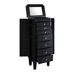Powell - Powell Black Glass Jewelry Armoire - This modern noir jewelry armoire provides ample safe storage space for all of your bits and baubles. The top opens to reveal a mirror to help you adorn yourself! Finished in Black and accented with dark glass  this piece is both eye-catching and elegant. Some assembly required.