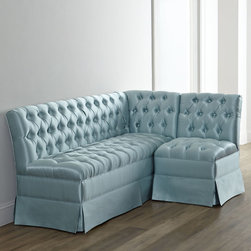 """Horchow - Clarice L-Shaped Banquette - LIGHT GREY - Clarice L-Shaped BanquetteDetailsSolid hardwood frame.Hand-painted walnut-stain finish on legs.Cotton/polyester upholstery.High-density foam with poly wrap.Sinuous springs.76""""W x 36""""T. Seat 25""""D; L extension 52""""D.Handcrafted in the USA.Boxed weight approximately 207 lbs. Please note that this item may require additional delivery and processing charges."""