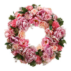 Silk Plants Direct - Silk Plants Direct Rose, Peony and Sedum Wreath (Pack of 1) - Pack of 1. Silk Plants Direct specializes in manufacturing, design and supply of the most life-like, premium quality artificial plants, trees, flowers, arrangements, topiaries and containers for home, office and commercial use. Our Rose, Peony and Sedum Wreath includes the following: