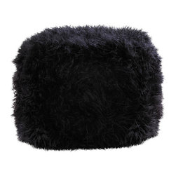 KOOLEKOO - Fuzzy Polyester Ottoman Pouf, Black - Lounge in total comfort with one of our fuzzy ottomans! Their soft construction and irresistible texture makes them a popular addition to any room.