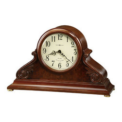 HOWARD MILLER - Howard Miller Sophie Triple-Chime Mantel Clock - This special 82nd Anniversary Edition mantel clock's decorative details include carved leaf and rosette overlays and a burl front panel.