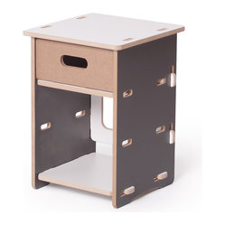 Kids Nightstand, Gray and White