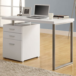 Monarch - White Hollow-core Left Or Right Facing 48in.L Desk - This simple yet practical in. hollow-core in. desk is the perfect addition to your home office. The white finished desk can conveniently be placed on the left or right side offering you multi functionality. The mobile side drawers provide you with space to store office supplies, papers, books, files folders, and plenty more. Use the spacious top for your computer, a lamp and even some pictures. This 48 in. long desk with fit in perfectly into any space.