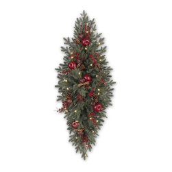"""Balsam Hill - 48"""" Balsam Hill® Heritage Spice Artificial Christmas Mailbox Swag - Our Heritage Spice mailbox swag is the perfect addition to your holiday decorations. Pine cones, berries, apples, cinnamon sticks, and pomegranates are nestled within the lush boughs of this swag, creating an inviting radiance that no mailman or visitor can resist. Our hand-crafted mailbox swags have been featured on TV shows such as """"Ellen"""" and """"The Today Show"""" and are a recipient of the Good Housekeeping Seal of Approval. Balsam Hill swags hang beautifully, are made of flame-retardant and non-allergenic materials, and are covered by our popular 5-year foliage and 3-year light warranties. Free shipping when you buy today!"""