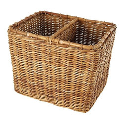 Eco Displayware - Large Divided Rattan Bin in Natural - Great for closet, bath, pantry, office or toy and game storage. Earth friendly. 22 in. L x 19 in. W x 18 in. H (27.36 lbs.)These natural colored baskets add warmth and charm and keep you organized.