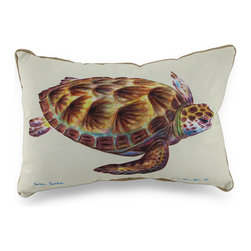 Betsy Drake - Betsy Drake Sea Turtle Indoor/Outdoor Throw Pillow 15 In. x 22 In. - This wonderful sea turtle print indoor/outdoor pillow will add a beautiful pop of tropical charm to your space perfect for the couch in the living room or the Adirondack chair on the patio. Proudly made in the USA, it features a wonderful watercolor print of a swimming sea turtle, based on original artwork by artists R.B. Hamilton and Betsy Drake. This decorative pillow measures 15 inches wide and 22 inches long with a 100% polyester cover, which resists fading and wear, giving you years of use, and is stuffed with polyester. Recommended care instructions are to spot clean, only. They are perfect for rooms or patios with a coastal theme.