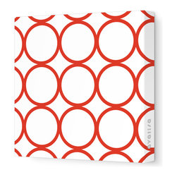 """Avalisa - Pattern - Circles Stretched Wall Art, 18"""" x 18"""", Red -"""