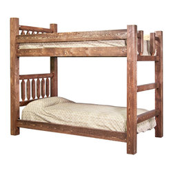 Montana Woodworks - Montana Woodworks Homestead Bunk Bed in Stained and Lacquered - Twin over Twin - From Montana Woodworks, the largest manufacturer of handcrafted quality log furnishings in America comes the all new Homestead Collection line of furniture products. Handcrafted in the mountains of Montana using solid, American grown wood, the artisans rough saw all the timbers and accessory trim pieces for a look uniquely reminiscent of the timber-framed homes once found on the American frontier. The Homestead bunk bed by Montana Woodworks is a classic of design and build. Skilled craftsmen patiently craft and hand assemble each sub assembly ensuring the bed will last a lifetime. Some assembly required. 20-year limited warranty included at no additional charge.