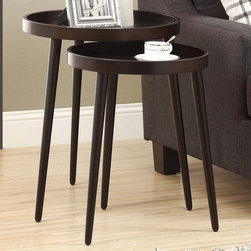 Monarch - Cappuccino 2Pcs Nesting Table Set - A beautiful set of cappuccino round tray top nesting tables with sturdy wood legs. Use them as a pair or separate them for entertaining. Easy to clean and simple to move around.
