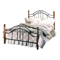 Hillsdale - Hillsdale Furniture Winsloh Metal Poster Bed in Black Finish-Full - Hillsdale - Beds - 164BFR - Gracefully flowing scrollwork and sturdy wooden posts lend a romantic old-world sensibility to this classic bed. The Winsloh features a textured black finish on its sturdy construction for that wrought-iron look and a rich dark finish on all hardwood components to create the feel of a treasured heirloom.