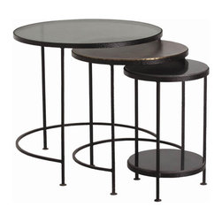 """Arteriors - Arteriors Home - Yardley Waxed Nesting Tables, set of 3 - 6827 - Set of 3 round nesting tables framed in hammered black iron wax finish with leather look texture on thin demilune legs. Largest is topped with muted champagne colored glass. Features: Yardley Collection Nesting TablesChampagne GlassOxidized BrassSet of 3Black Marble Some Assembly Required. Dimensions: Large: H 26"""" x 28"""" DiaMedium: H 24"""" x 21"""" DiaSmall: H 22 1/2"""" x 15"""" Dia"""