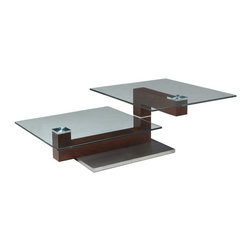 """Pastel Furniture - Pastel Furniture Janice 52x25 Rectangular Coffee Table w/ Glass Top in Walnut - The Janice coffee table is a simple yet elegant design that can add that stylish and modern flair to your living area. This coffee table is made with stainless steel and walnut wood with a 24"""" x 36"""" rectangular glass top."""
