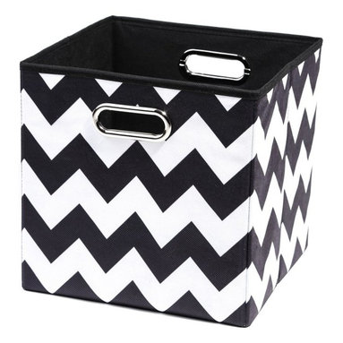 Modern Littles - Modern Littles 10 in. Black Chevron Storage Bin - BLDSTOR101 - Shop for Craft Storages and Organizers from Hayneedle.com! Few things in the world are black and white - but kids room storage can be with the Modern Littles 10 in. Black Chevron Storage Bin. Crafted with a durable cardboard core and sturdy canvas cover with a bold black and white chevron motif this modern bin makes cleanup simple with an easy-fill open-top shape. Built-in carrying handles and a fold-flat design are cool and convenient.About Modern LittlesWhen it comes to the building blocks of a well-designed kid's room Modern Littles' storage bins create a solid foundation. The company specializes in clean modern storage bins - as well as prints wall decals and laundry baskets - that help parents create fully organized coordinated spaces with just a few practical pieces. Six collections are appropriate for boys and girls with something for every age from newborn to teen.