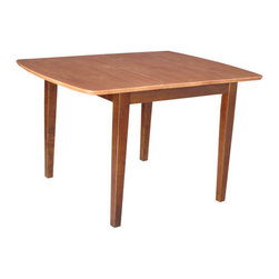 "International Concepts - Radius Edge Shaker Expandable Dining Table - Features: -Solid wood construction. -Radius edge. -Butcher block top. -Shaker styled legs. -Butterfly extension table top. -For use with dining chair. Dimensions: -Expands: 36"" to 48"". -30"" H x 36"" W x 36"" D."