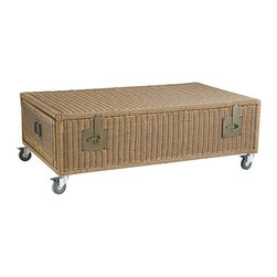 NONE - Rolling Wicker Trunk Coffee Table - Crafted of hand-woven,weather-resistant wicker composed atop four rolling casters,this stylish coffee table will infuse your decor with style and function. The trunk design offers generous storage with two side drawers to keep your organized.