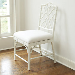 Ballard Designs - Dayna Side Chairs - Set of 2 - Great for dining or as an accent chair. Our Dayna Side Chair captures the sophisticated soul of Chinese Chippendale styling. Solid beech wood frame is artisan crafted with classic fretwork hand finished with bamboo-inspired turnings. Richly padded linen blend seat removes for easy recovering. Dayna Side Chair features: .