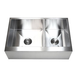 """Ariel - 33 Inch Stainless Steel 60/40 Double Bowl Flat Front Farm Apron Kitchen Sink - The Ariel 33 inch flat front apron sink is a durable 60/40 sink that is built to last. Exterior Dimensions 33"""" x 21"""" x 10""""."""