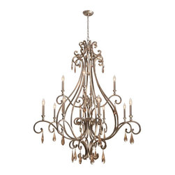 Crystorama - Crystorama 7520-DT Chandelier - Metals are hot, hot, hot! And the old rule against mixing silver and gold tones no longer applies. We've achieved the perfect combination of silver and gold (and just the right amount of sparkle, too) in our Distressed Twilight finish. The Shelby collecti