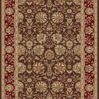 Tayse Rugs - Elegance Brown and Beige Rectangular: 5 Ft. x 7 Ft. Rug - - Classic design that can be used with transitional or traditional d�cor. Wider, contrasting border offers a distinct appeal. Timeless hues of brown, red and gold. Made of soft, easy to clean polypropylene. Vacuum and spot clean.  - Square Footage: 35  - Pattern: Floral  - Pile Height: 0.39-Inch Tayse Rugs - 5338  Brown  5x7