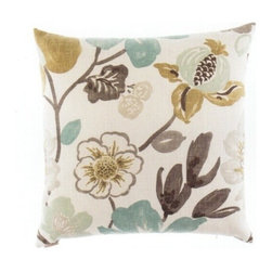 "Canaan - 24"" x 24"" Gorgeous Basic Floral Pattern Print Fabric Throw Pillow - 24"" x 24"" Gorgeous basic floral pattern print fabric throw pillow with a feather/down insert and zippered removable cover. These pillows feature a zippered removable 24"" x 24"" cover with a feather/down insert. Measures 24"" x 24"". These are custom made in the U.S.A and take 4-6 weeks lead time for production."